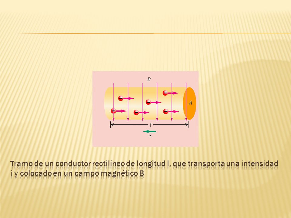 Tramo de un conductor rectilíneo de longitud l, que transporta una intensidad i y colocado en un campo magnético B