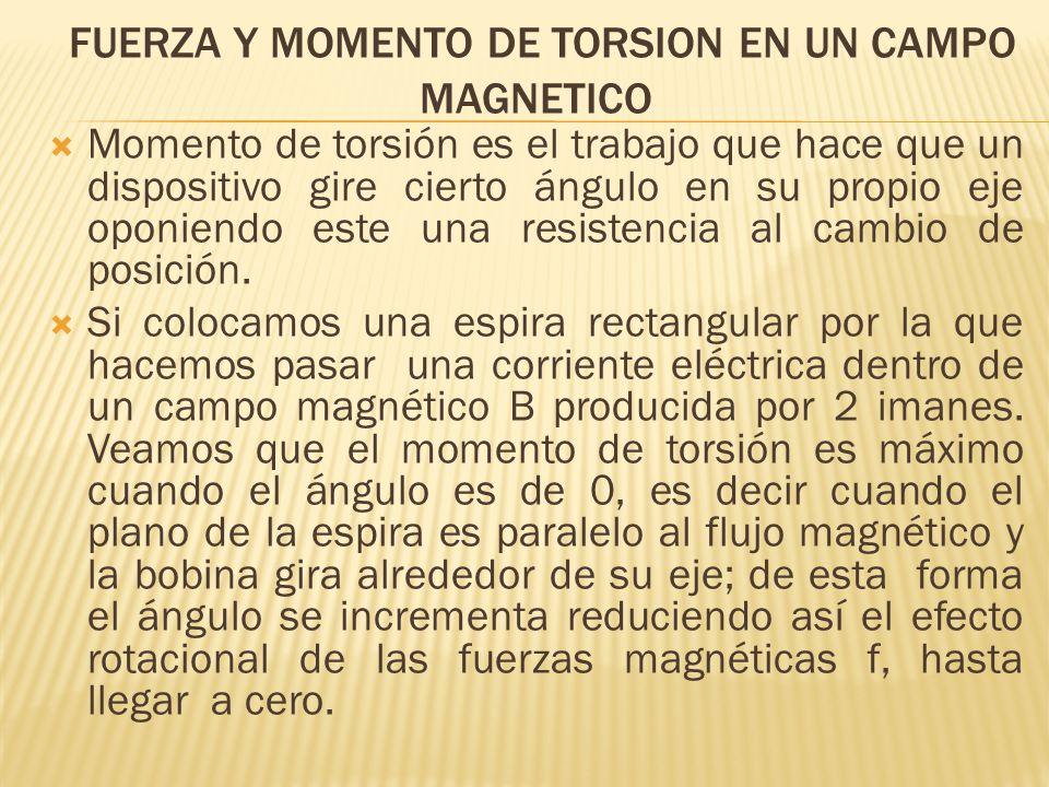 FUERZA Y MOMENTO DE TORSION EN UN CAMPO MAGNETICO