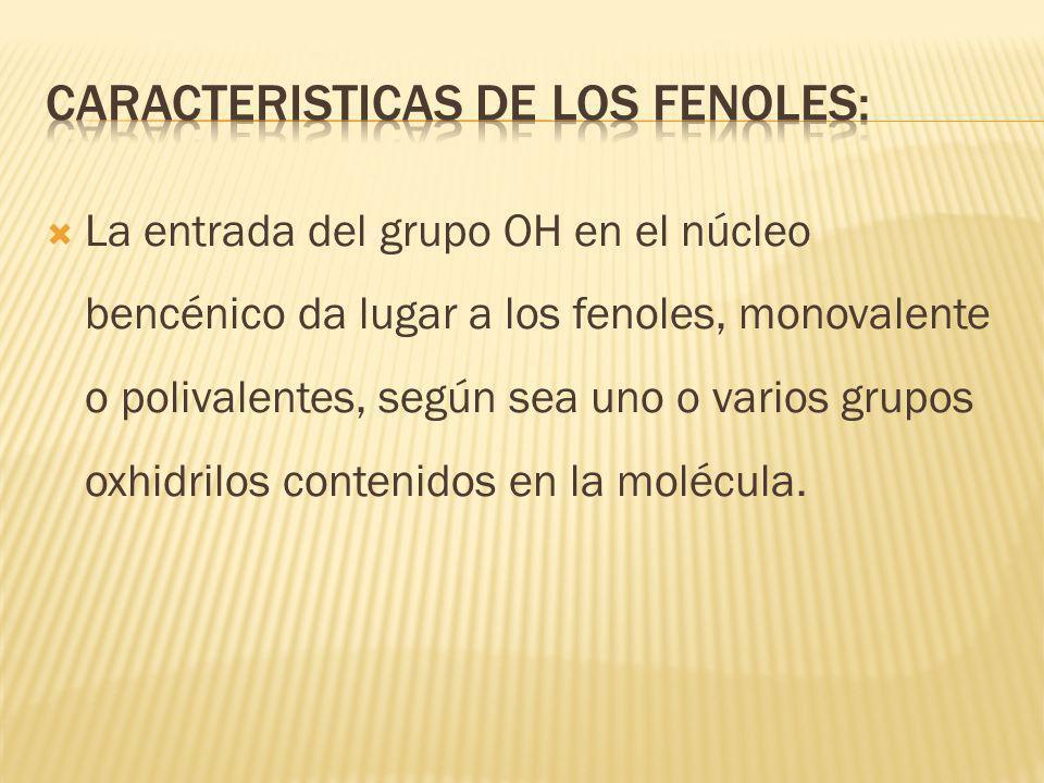 Caracteristicas de los fenoles: