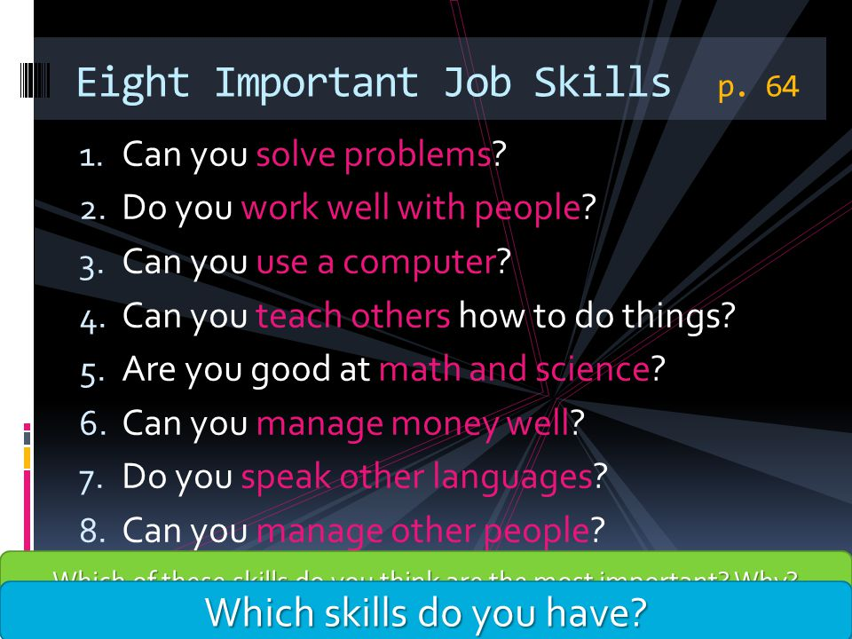 Eight Important Job Skills p. 64