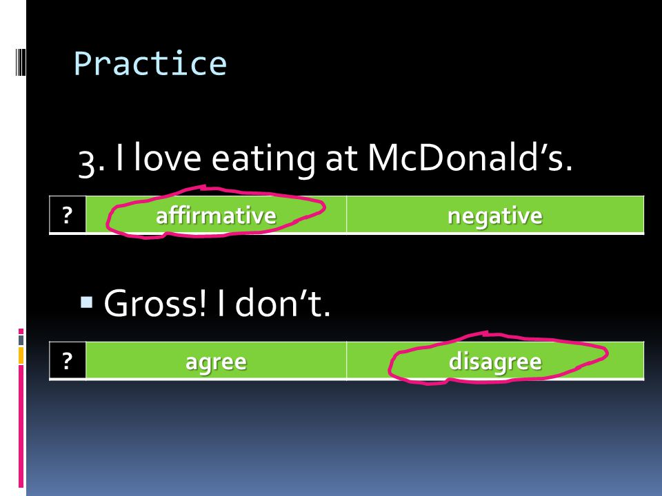 3. I love eating at McDonald's.
