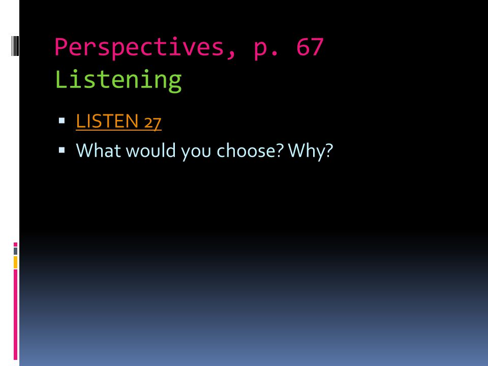 Perspectives, p. 67 Listening