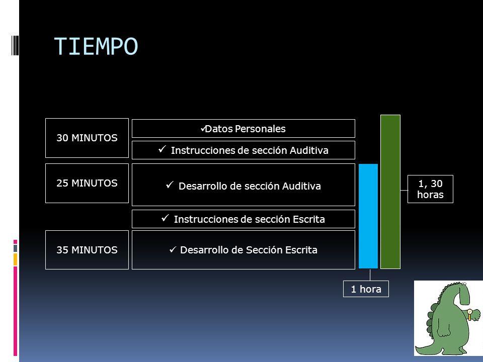 TIEMPO Instrucciones de sección Auditiva