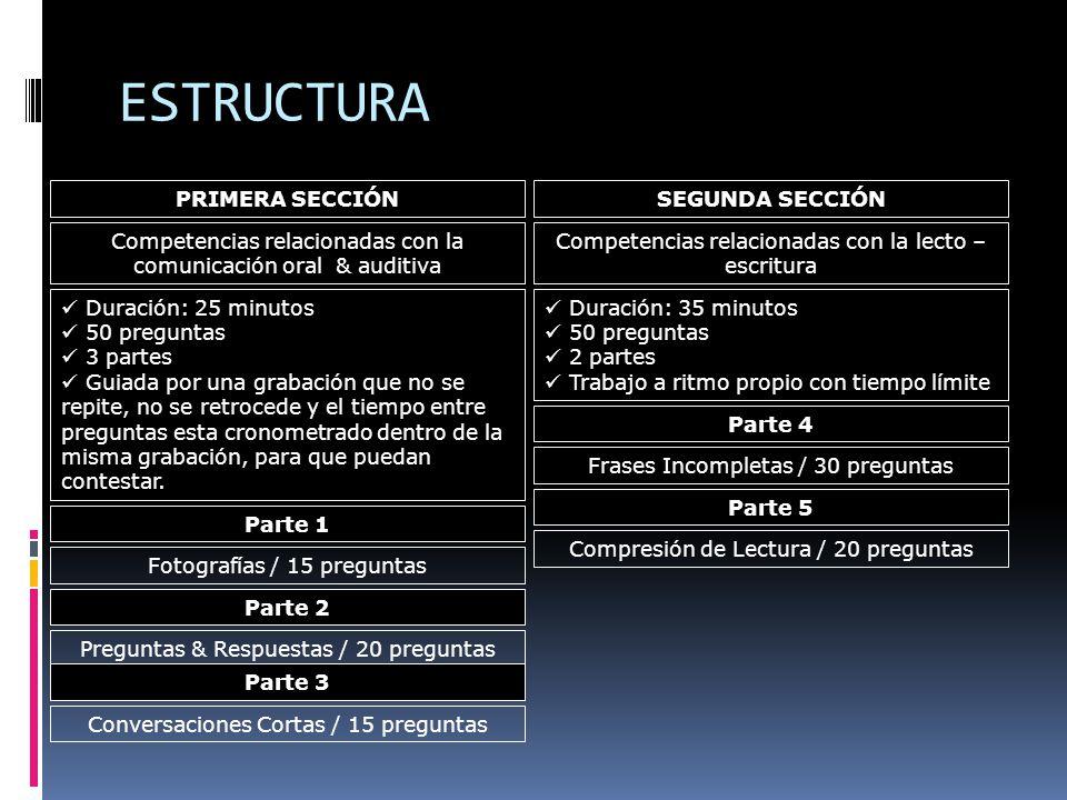 ESTRUCTURA PRIMERA SECCIÓN SEGUNDA SECCIÓN