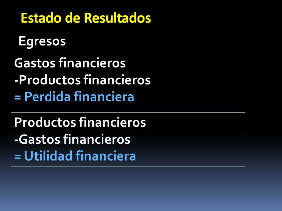 Estado de Resultados Egresos Gastos financieros -Productos financieros
