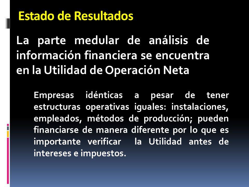 Estado de Resultados La parte medular de análisis de información financiera se encuentra en la Utilidad de Operación Neta.