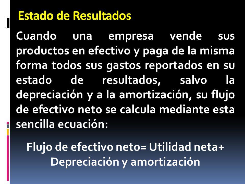 Flujo de efectivo neto= Utilidad neta+ Depreciación y amortización
