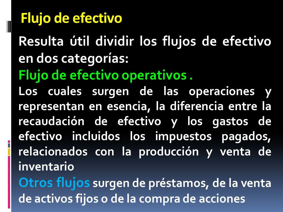 Flujo de efectivo Resulta útil dividir los flujos de efectivo en dos categorías: Flujo de efectivo operativos .
