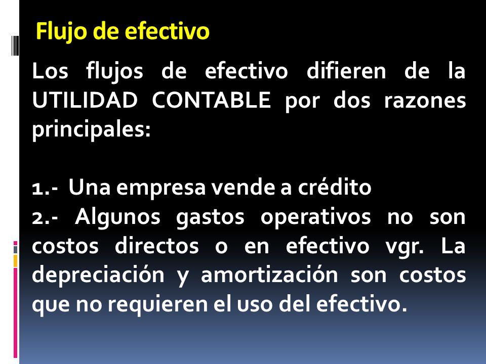 Flujo de efectivo Los flujos de efectivo difieren de la UTILIDAD CONTABLE por dos razones principales: