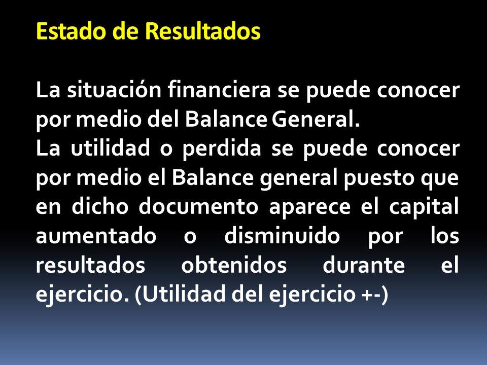 Estado de Resultados La situación financiera se puede conocer por medio del Balance General.