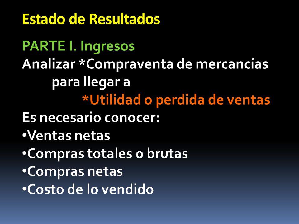 Estado de Resultados PARTE I. Ingresos