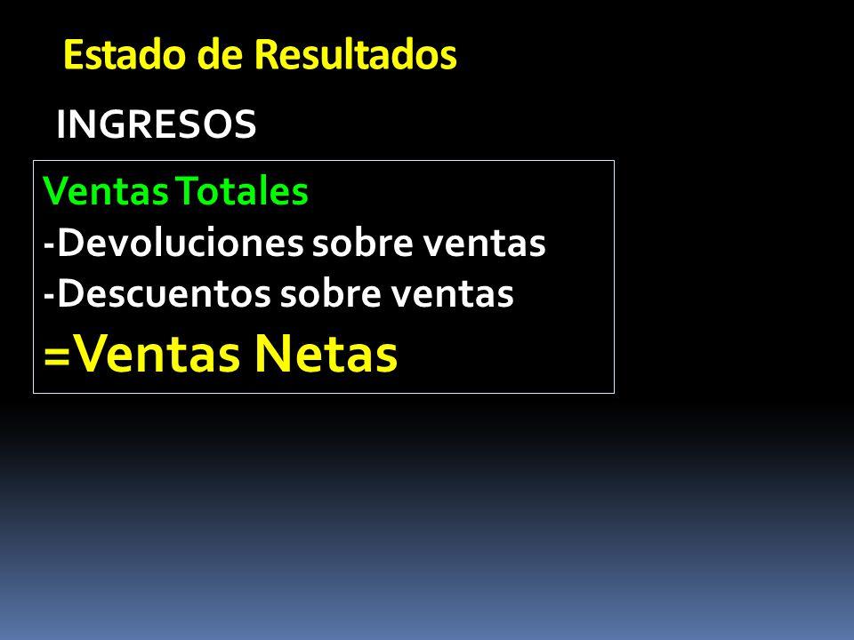 =Ventas Netas Estado de Resultados INGRESOS Ventas Totales