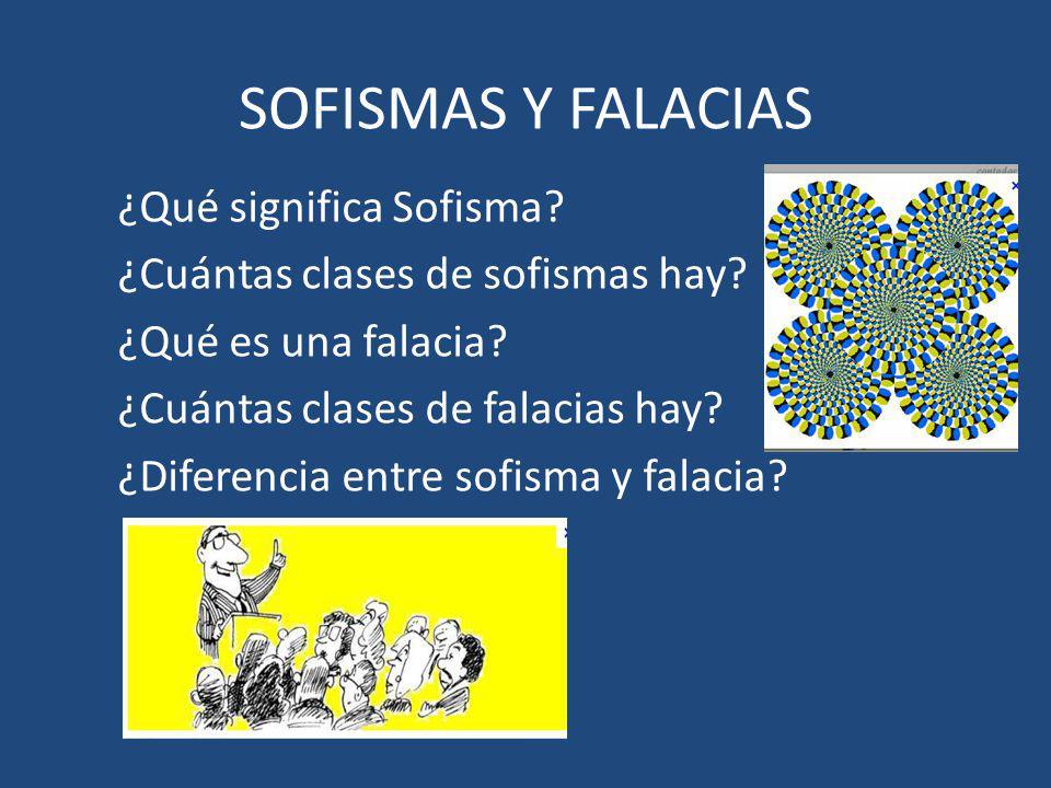 SOFISMAS Y FALACIAS ¿Qué significa Sofisma