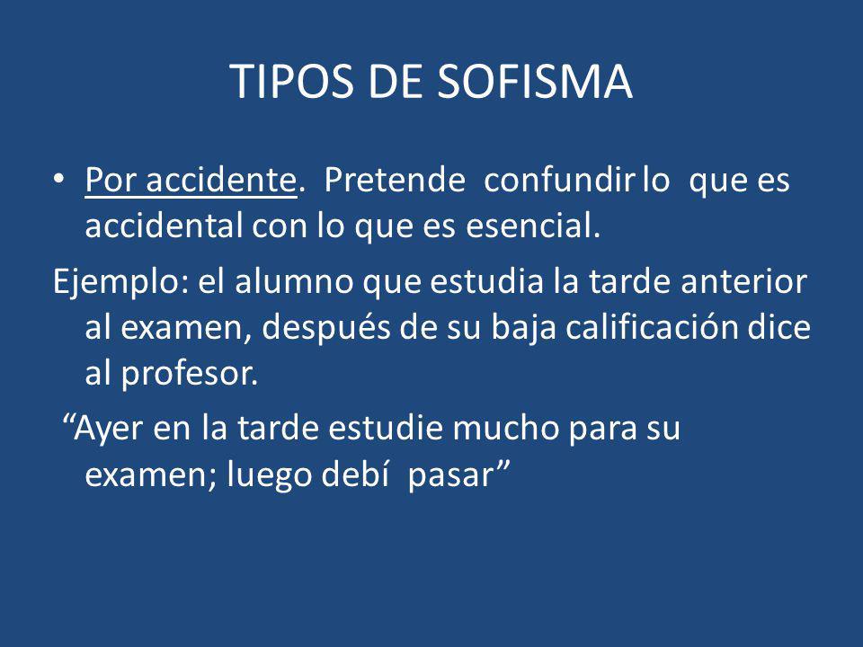 TIPOS DE SOFISMA Por accidente. Pretende confundir lo que es accidental con lo que es esencial.