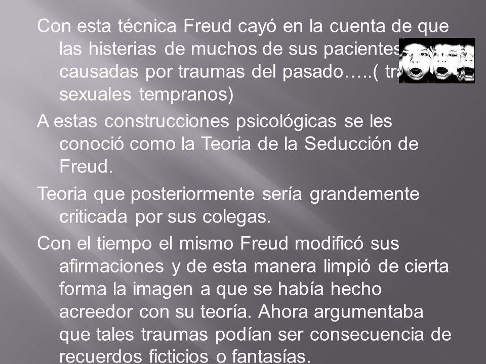 Con esta técnica Freud cayó en la cuenta de que las histerias de muchos de sus pacientes eran causadas por traumas del pasado…..( traumas sexuales tempranos) A estas construcciones psicológicas se les conoció como la Teoria de la Seducción de Freud.