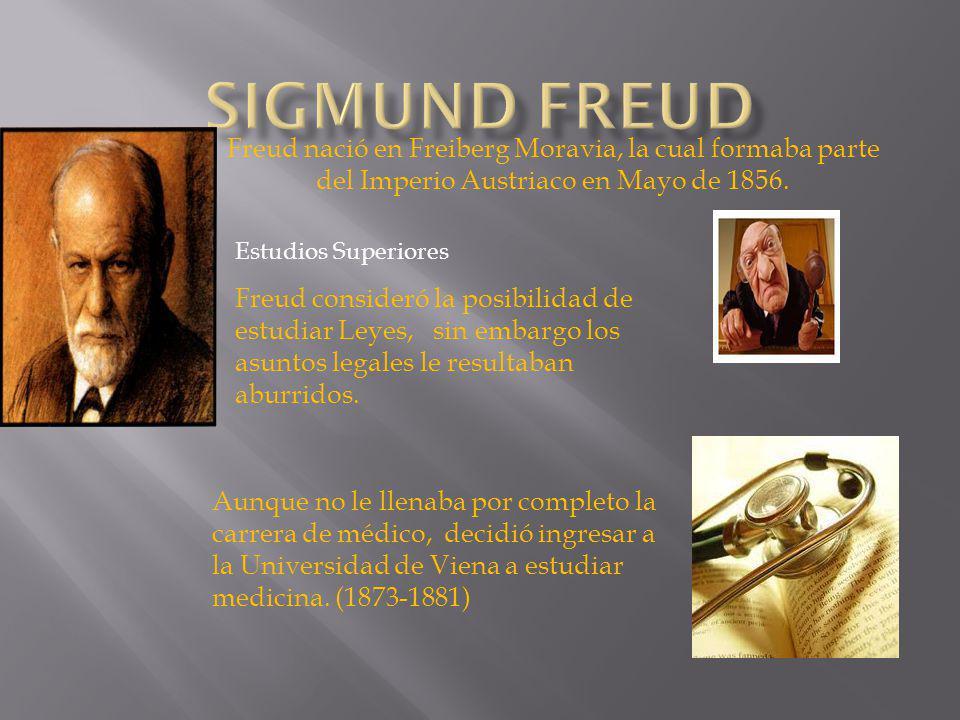 Sigmund Freud Freud nació en Freiberg Moravia, la cual formaba parte del Imperio Austriaco en Mayo de 1856.