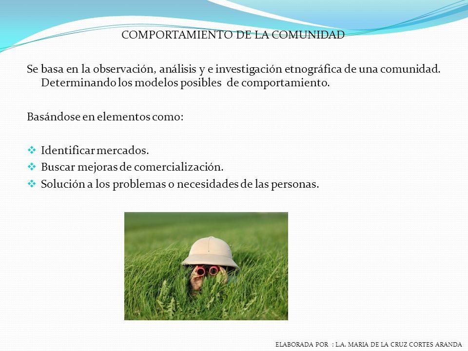COMPORTAMIENTO DE LA COMUNIDAD