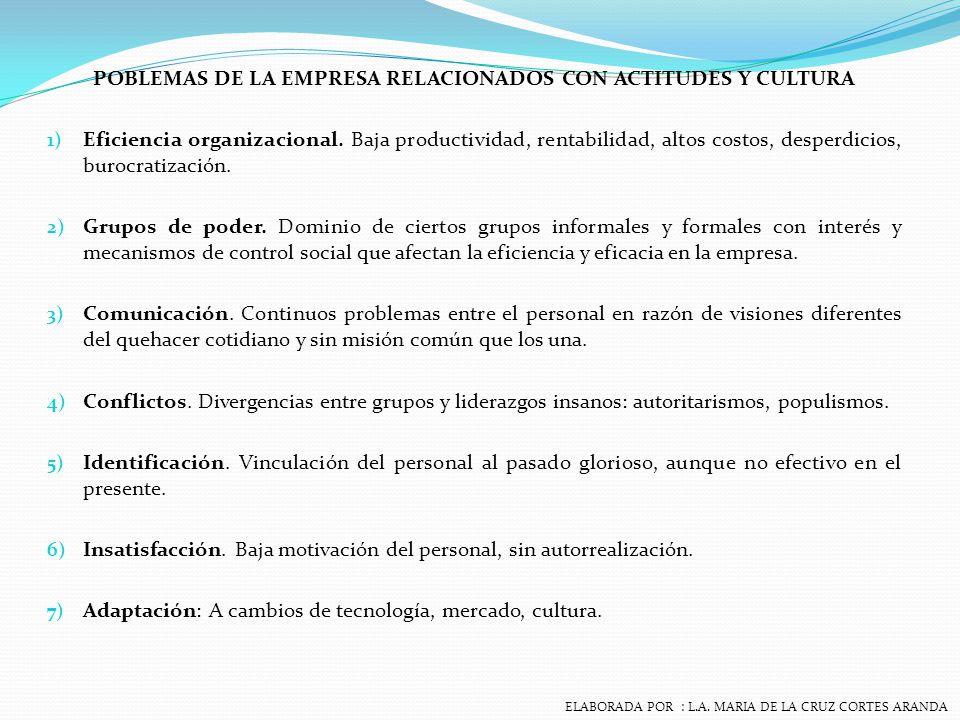 POBLEMAS DE LA EMPRESA RELACIONADOS CON ACTITUDES Y CULTURA