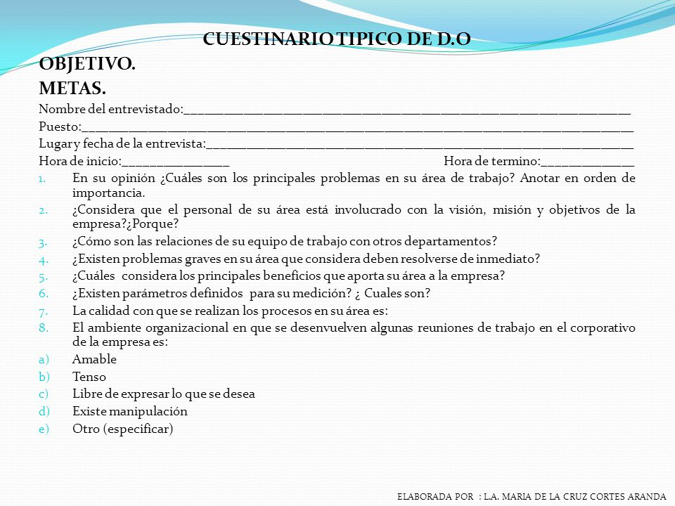 CUESTINARIO TIPICO DE D.O