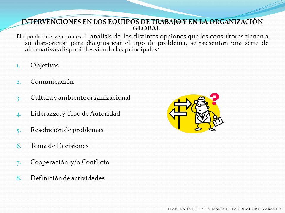 INTERVENCIONES EN LOS EQUIPOS DE TRABAJO Y EN LA ORGANIZACIÓN GLOBAL