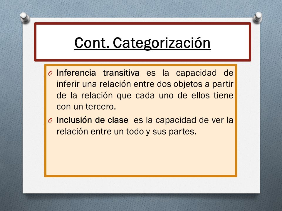 Cont. Categorización