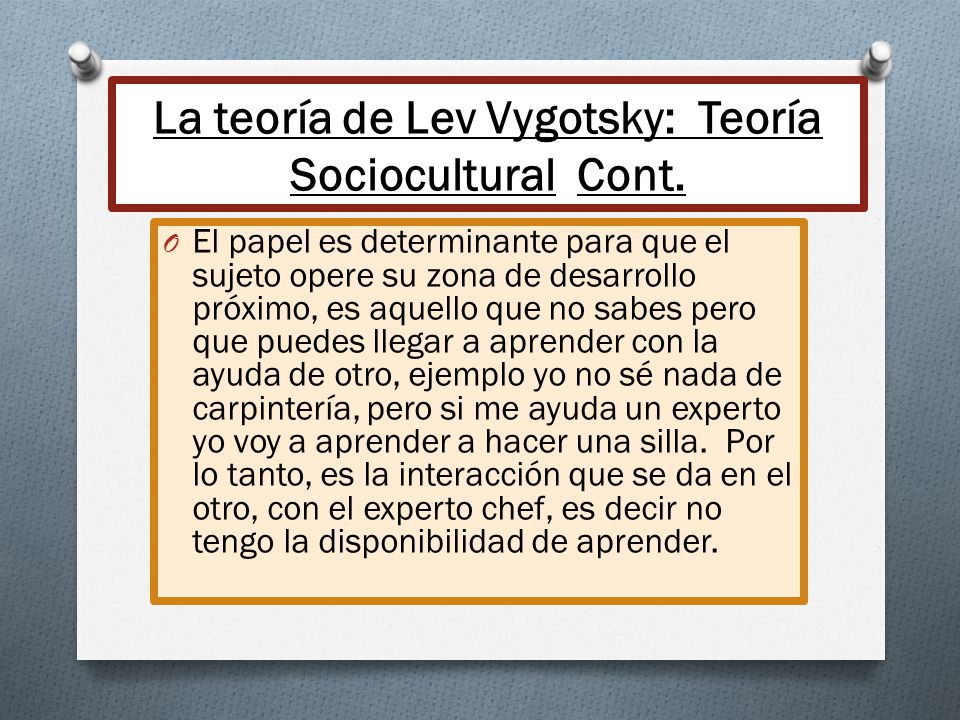 La teoría de Lev Vygotsky: Teoría Sociocultural Cont.