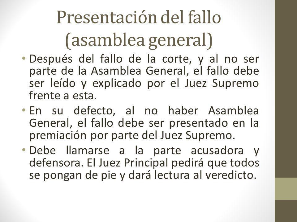 Presentación del fallo (asamblea general)