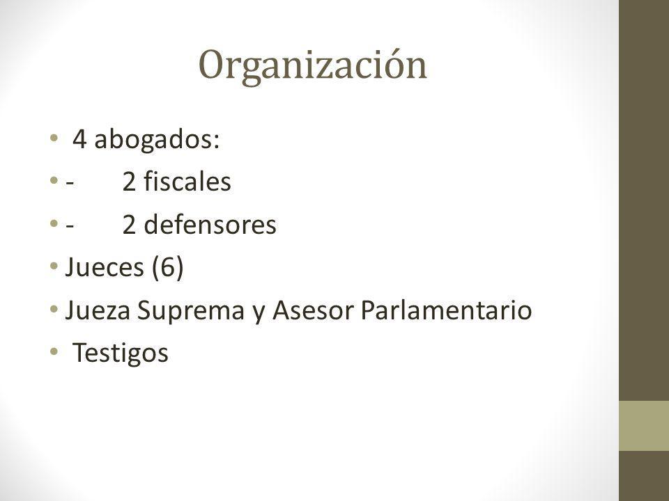 Organización 4 abogados: - 2 fiscales - 2 defensores Jueces (6)