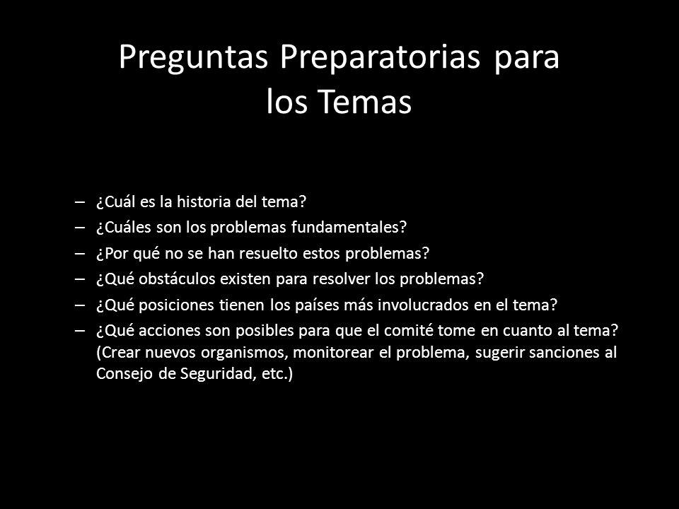 Preguntas Preparatorias para los Temas