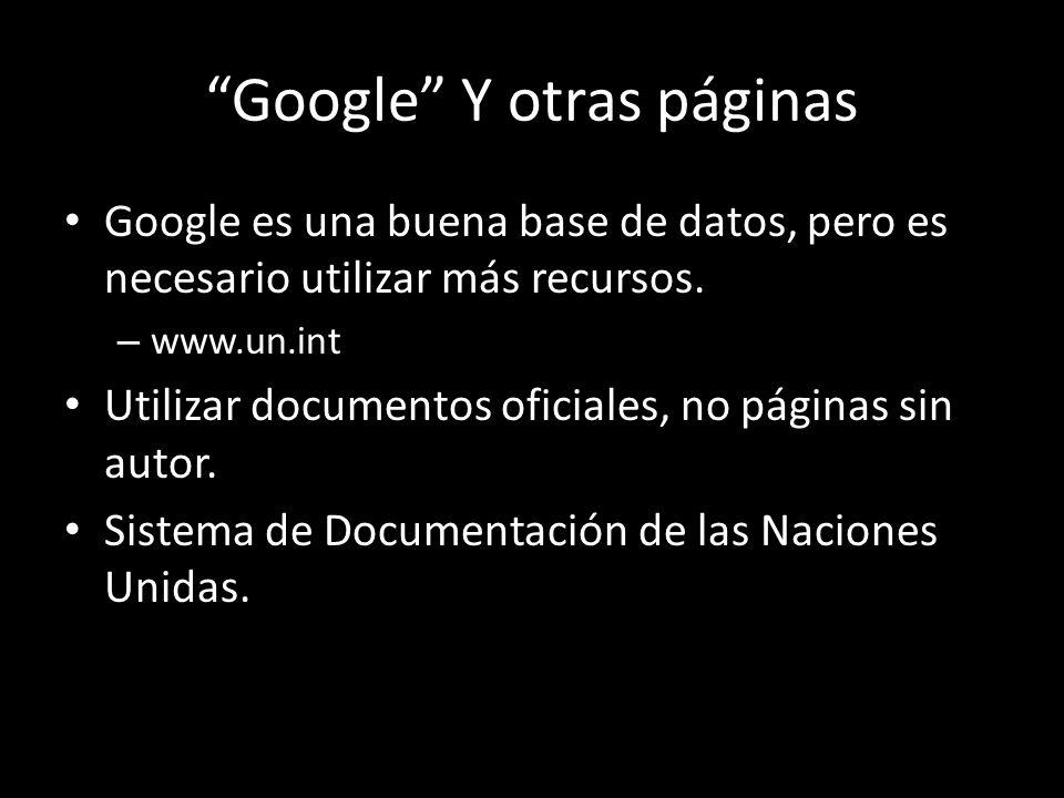Google Y otras páginas