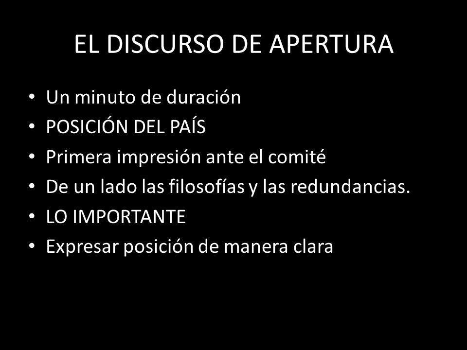 EL DISCURSO DE APERTURA