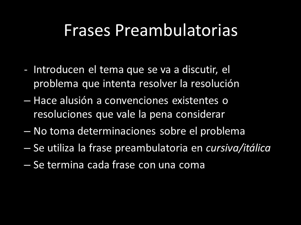 Frases Preambulatorias