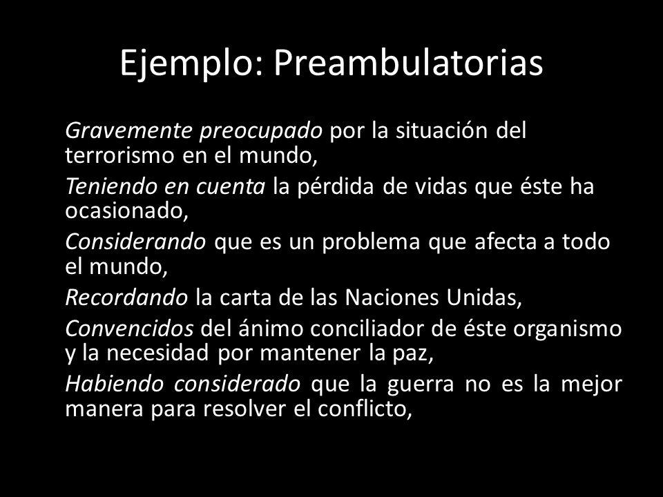 Ejemplo: Preambulatorias