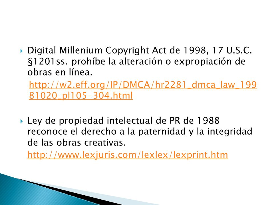 Digital Millenium Copyright Act de 1998, 17 U. S. C. §1201ss