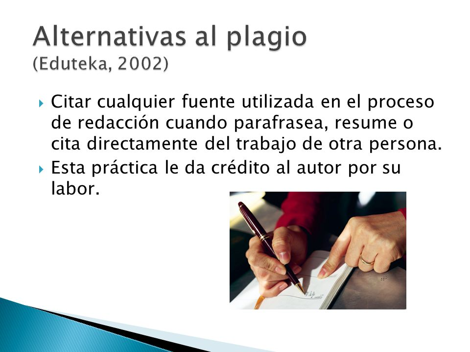 Alternativas al plagio (Eduteka, 2002)