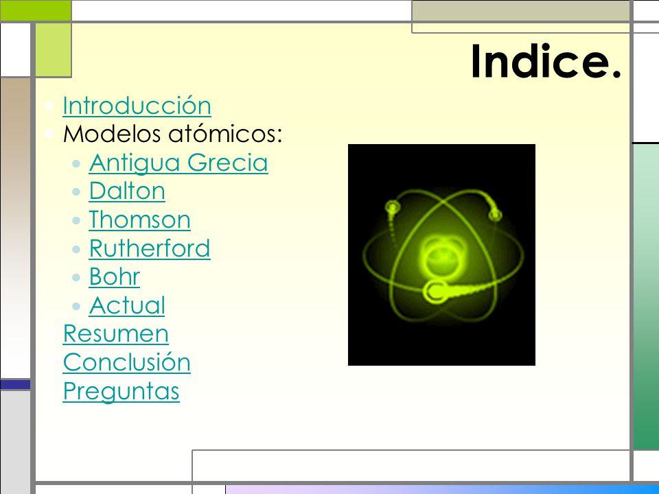 Indice. Introducción Modelos atómicos: Antigua Grecia Dalton Thomson