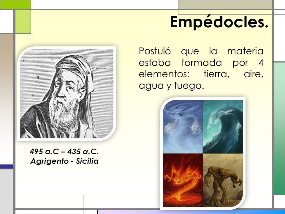Empédocles. Postuló que la materia estaba formada por 4 elementos: tierra, aire, agua y fuego. 495 a.C – 435 a.C.