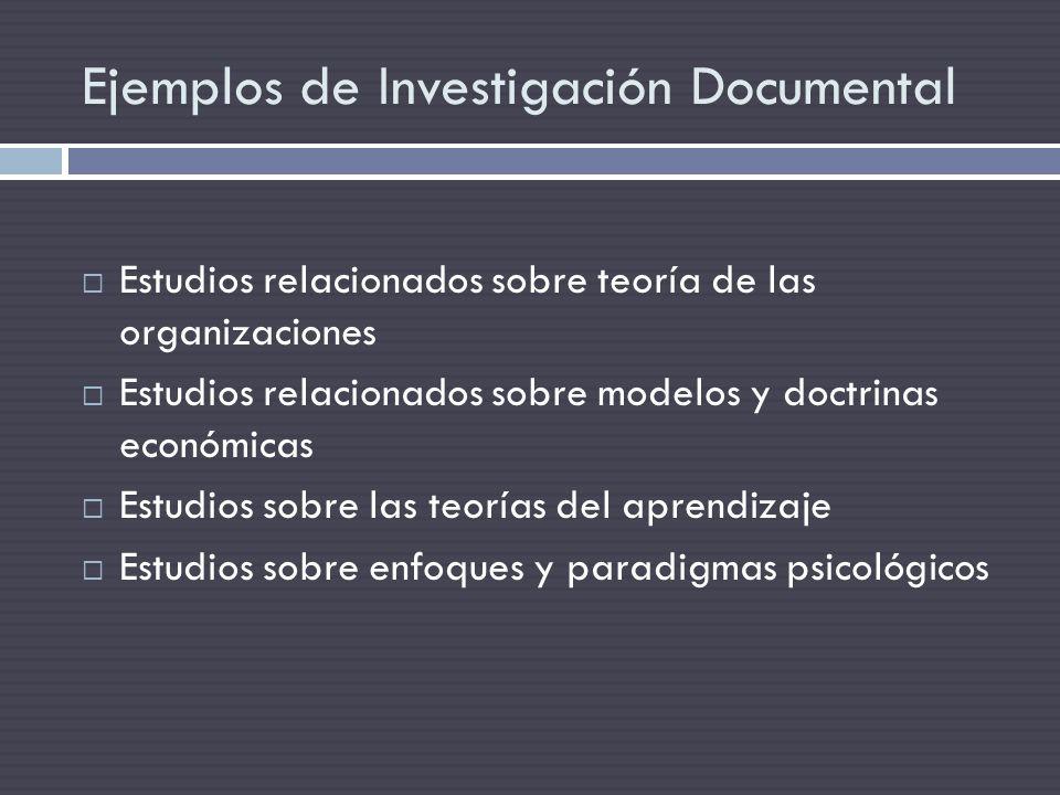 Ejemplos de Investigación Documental
