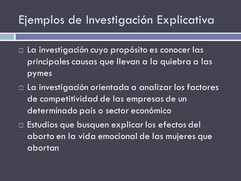 Ejemplos de Investigación Explicativa
