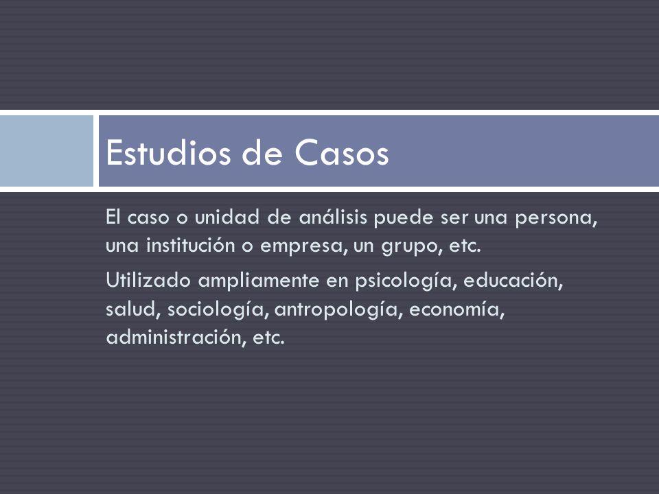 Estudios de Casos El caso o unidad de análisis puede ser una persona, una institución o empresa, un grupo, etc.