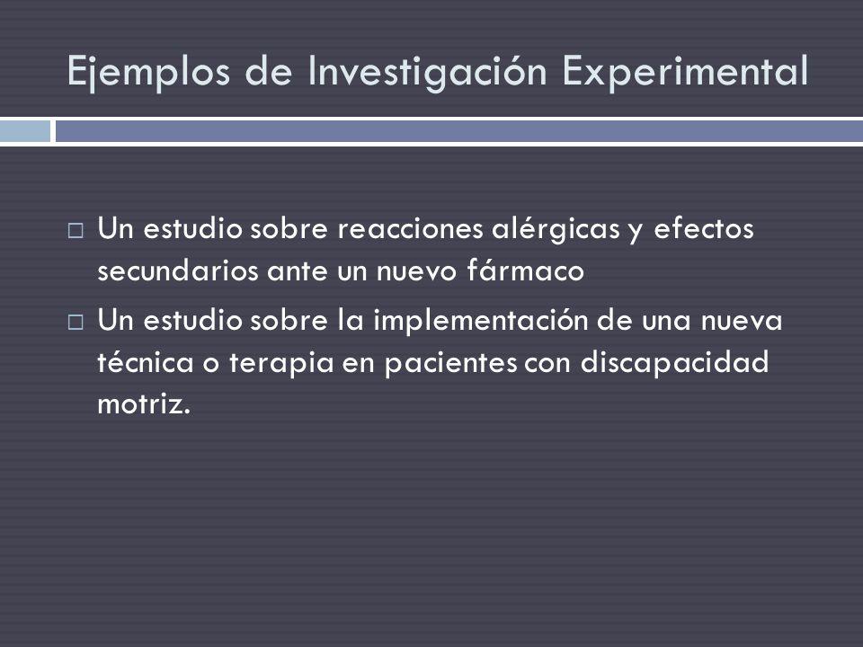 Ejemplos de Investigación Experimental