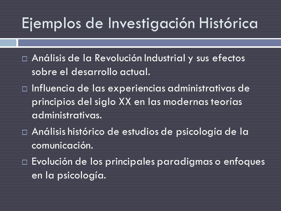 Ejemplos de Investigación Histórica