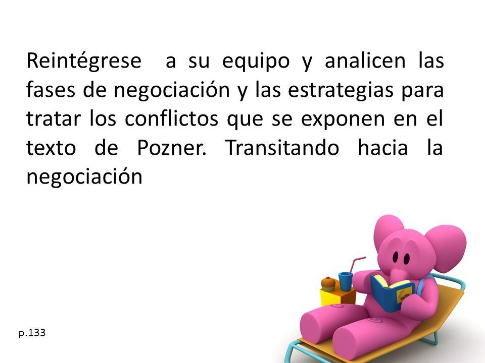 Reintégrese a su equipo y analicen las fases de negociación y las estrategias para tratar los conflictos que se exponen en el texto de Pozner. Transitando hacia la negociación