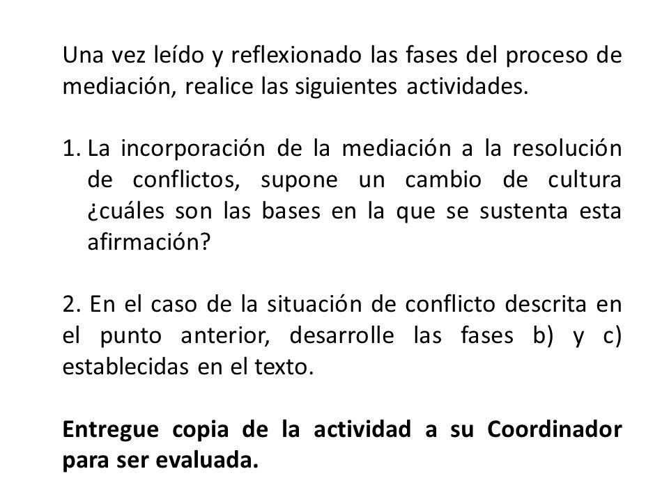 Una vez leído y reflexionado las fases del proceso de mediación, realice las siguientes actividades.
