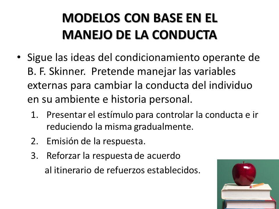 MODELOS CON BASE EN EL MANEJO DE LA CONDUCTA
