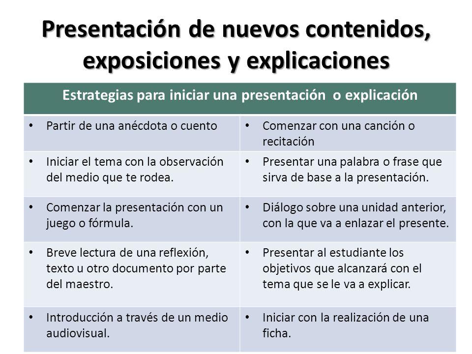 Presentación de nuevos contenidos, exposiciones y explicaciones