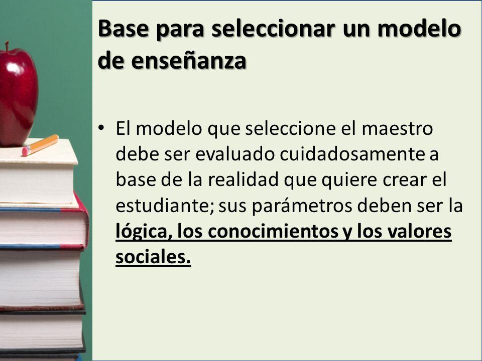 Base para seleccionar un modelo de enseñanza