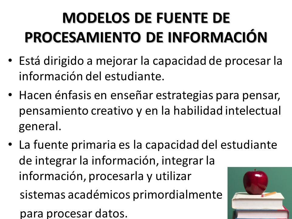 MODELOS DE FUENTE DE PROCESAMIENTO DE INFORMACIÓN