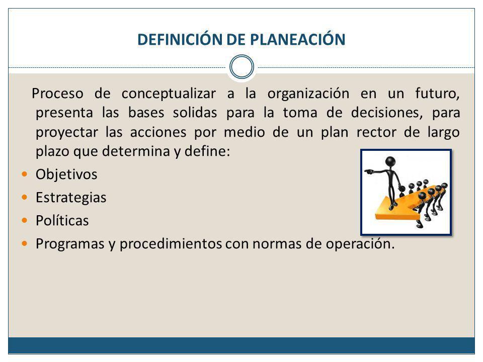 DEFINICIÓN DE PLANEACIÓN