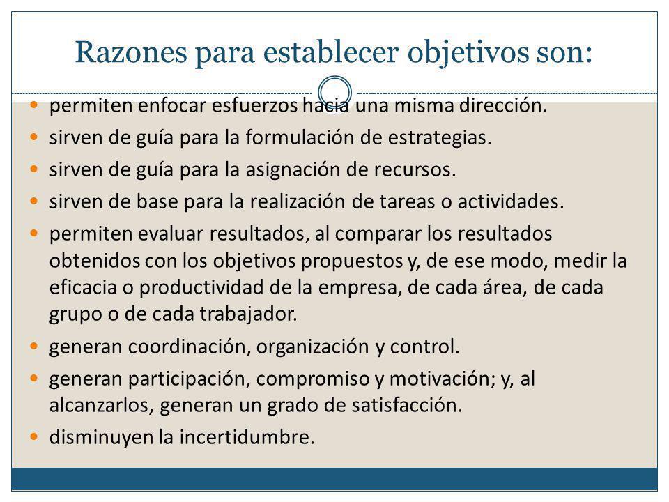 Razones para establecer objetivos son: